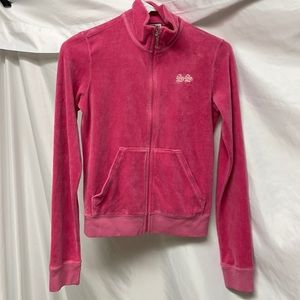Juicy Couture Pink Terry Cloth Zip Up Sweater Jacket Size Small